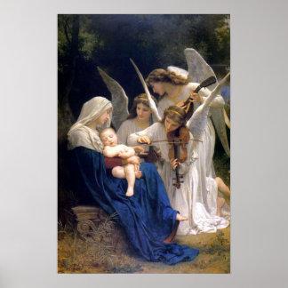 Madonna e criança com poster dos anjos pôster
