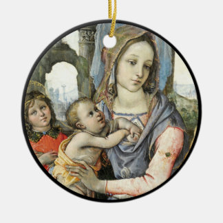 Madonna e criança com St Joseph e um anjo Ornamento De Cerâmica