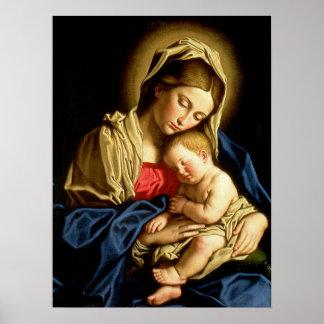 Madonna e criança Jesus - Sassoferrato Pôster