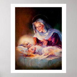 Madonna e criança. Poster das belas artes Pôster