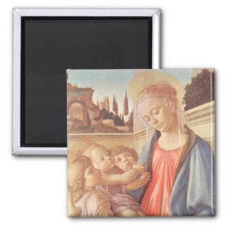 Madonna e dois anjos por Botticelli Ímã Quadrado