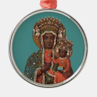 Madonna e enfeites de natal pretos da criança