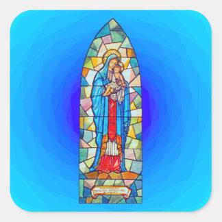 Madonna e estilo do vitral da natividade da adesivo quadrado