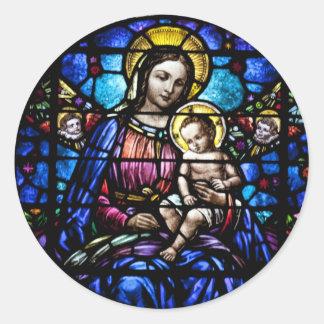 Madonna e olhar do vitral da criança adesivo