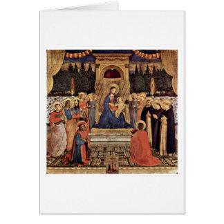 Madonna e santos Enthroned por Fra Angelico Cartão