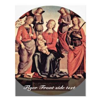 Madonna Enthroned com dois anjos, St. cor-de-rosa  Panfletos