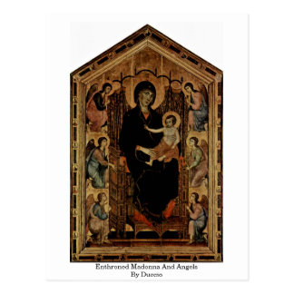 Madonna Enthroned e anjos por Duccio Cartão Postal
