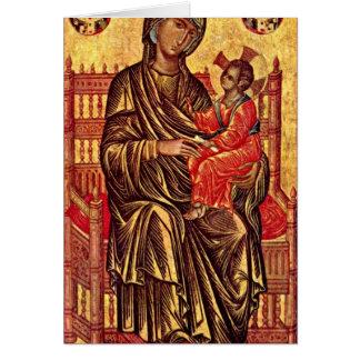 Madonna Enthroned por pintores Italo-Bizantinos Cartao