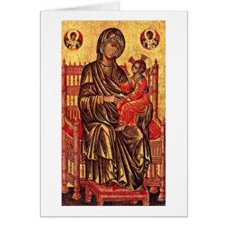 Madonna Enthroned por pintores Italo-Bizantinos Cartão