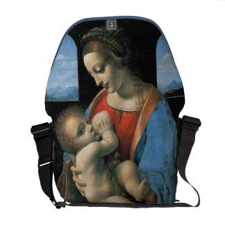 Madonna Litta por Leonardo da Vinci Bolsas Mensageiro