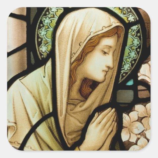 Madonna no vitral da oração adesivo em forma quadrada