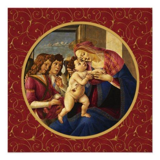 Madonna por Botticelli. Cartões de Natal religioso Convites Personalizados