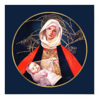 Madonna por M. Stokes. Cartão de Natal religioso Convite Personalizado