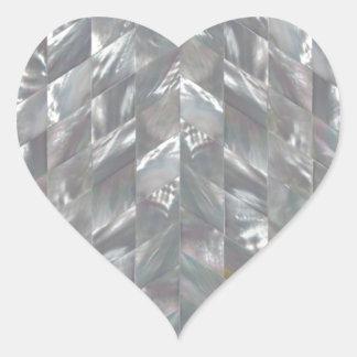 Madrepérola de Chevron Adesivo Coração