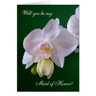 Madrinha de casamento. Cartão da flor da orquídea