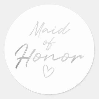 Madrinha de casamento - etiqueta de prata da folha