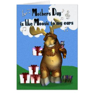 Mãe, alce do dia das mães com presentes cartão comemorativo
