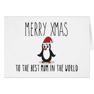 Mãe alegre do cartão de Natal do pinguim do Xmas