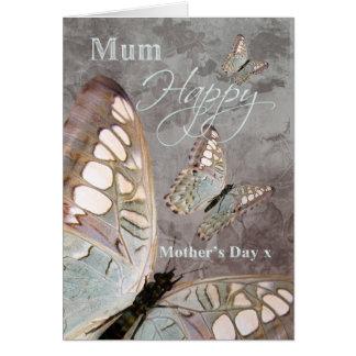 Mãe, cartão do dia das mães com borboletas