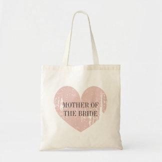 Mãe da sacola da noiva com coração cor-de-rosa sacola tote budget