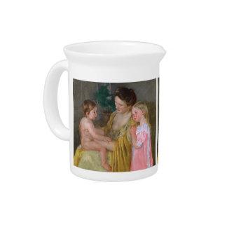 Mãe de Mary Cassatt- e duas crianças Jarro De Bebida
