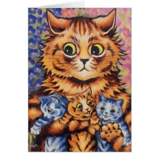 Mãe de Wain do vintage e cartão dos gatinhos