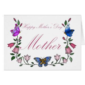 Mãe, dia das mães, borboleta e flores cartão comemorativo
