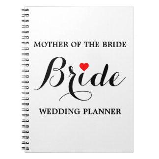 Mãe do caderno do planejador do casamento da noiva