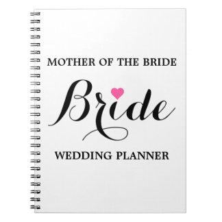 Mãe do caderno P W do planejador do casamento da