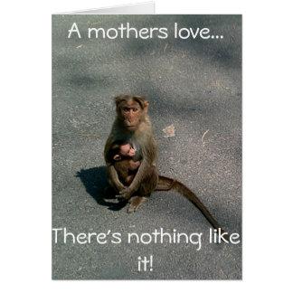Mãe do cartão do dia das mães/aniversário do macac
