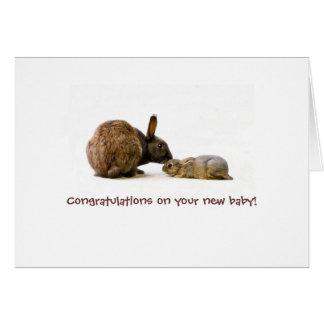 Mãe do coelho & bebê - cartão novo do bebê