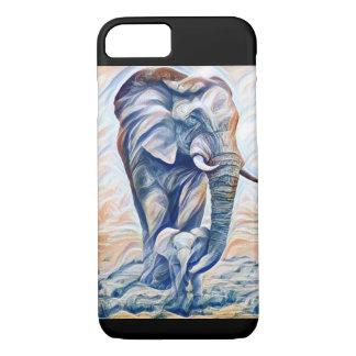 Mãe do elefante e capa de telefone da vitela