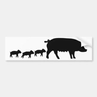 mãe do porco com ícone novo de três porcos adesivo para carro