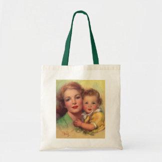 Mãe do vintage e retrato da criança sacola tote budget