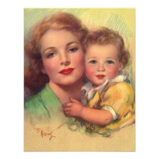 Mãe do vintage e retrato da criança convite