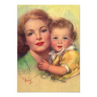 Mãe do vintage e retrato da família da criança convite personalizados