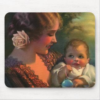 Mãe do vintage e retrato da família da criança mouse pad