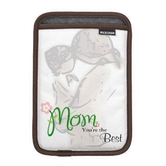 Mãe e criança com mamã floral & texto do costume luva de iPad mini