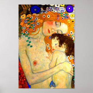 Mãe e criança pela arte Nouveau de Gustavo Klimt Pôster