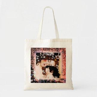Mãe e criança pela colagem de Gustavo Klimt Sacola Tote Budget