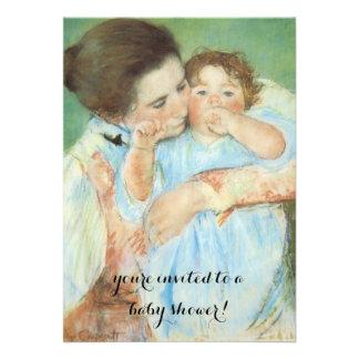 Mãe e criança por Cassatt chá de fraldas do Convites