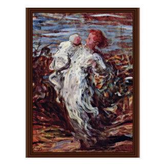 Mãe e criança por Daumier Honoré Cartão Postal