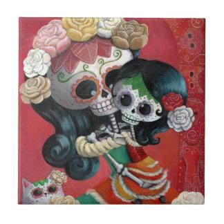 Mãe e filha de Diâmetro de Los Muertos Esqueleto Azulejos