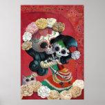 Mãe e filha de Diâmetro de Los Muertos Esqueleto Pôster