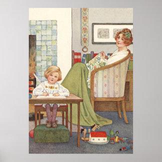 Mãe e filho do vintage por Millicent Sowerby Pôster