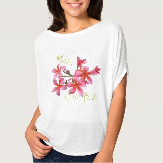 Mãe floral cor-de-rosa tropical da noiva camiseta