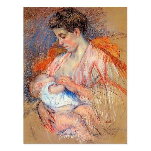 Mãe Jeanne de Mary Cassatt- que nutre seu bebê Cartao Postal