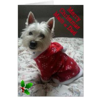 Mãe & pai alegres do cartão de Natal de Westie