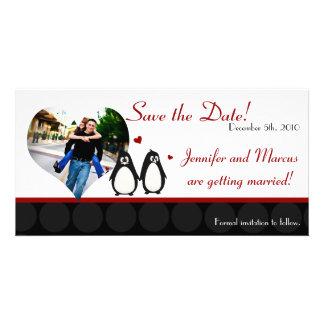 mães do casal do amor do pinguim do anúncio do noi cartão com foto