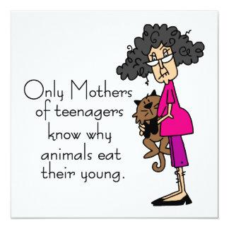 Mães dos adolescentes convite quadrado 13.35 x 13.35cm